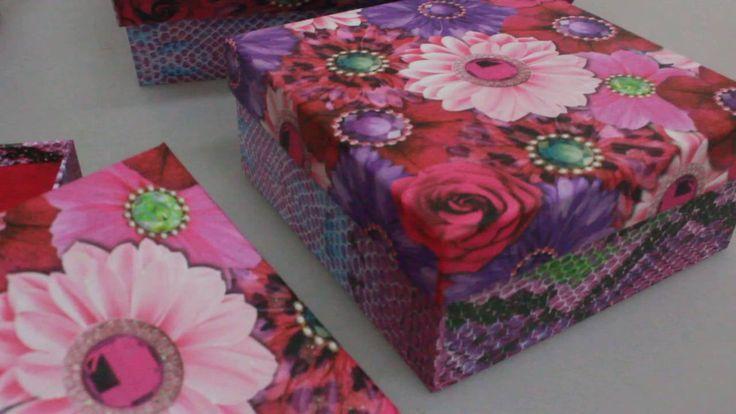 Набор подарочных коробок из 3шт  Квадрат Цветы Артикул 12959 1