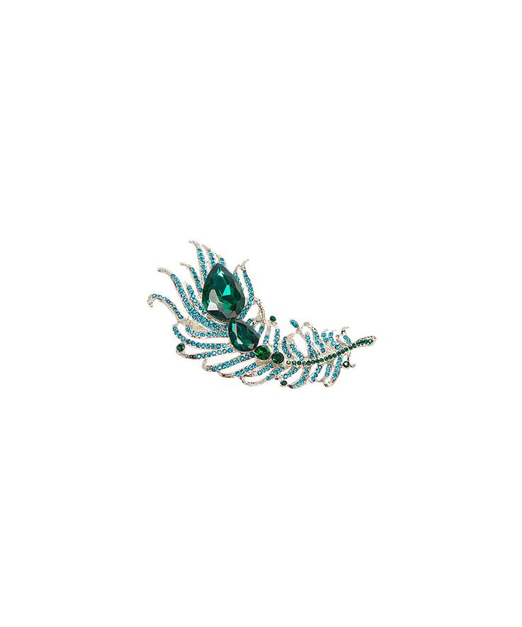 Take a look at this Green Rhinestone Peacock Feather Brooch today!