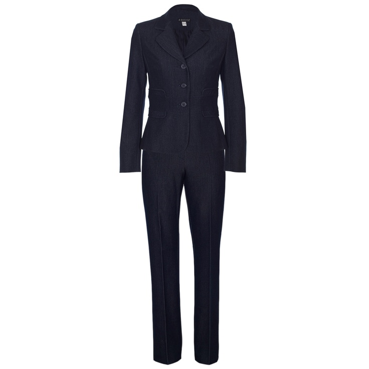 "Sapphire Navy Blue Trouser Suit by The Classy Wardrobe £168 at PinstripeandPearls.com - For when you need to dress down but still look smart, this navy blue ladies trouser suit has almost a dark denim look, with subtle waistband detail. This suit includes jacket and trousers – ideal for an informal, but still ""suited and booted"" look. http://www.pinstripeandpearls.com/women/brands/the-classy-wardrobe"