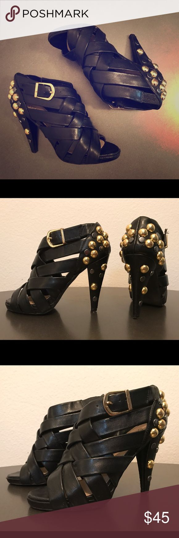 Colin Stuart Strappy Heels w Gold & Black Studs 5 These Colin Stuart's makes a statement with the straps, gold buckle and the studded heel! They are super comfortable and will dress up any outfit! Some scuffs oh heel and tip. Colin Stuart Shoes Heels
