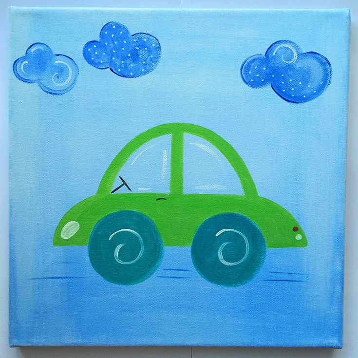Handmade children's canvas painting with a car in shades of blue and green.