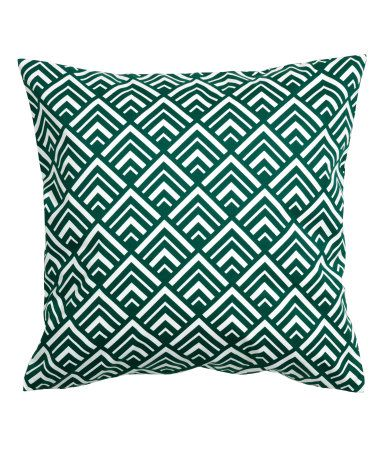 Dark green. Cushion cover in cotton twill with a printed pattern. Concealed zip.