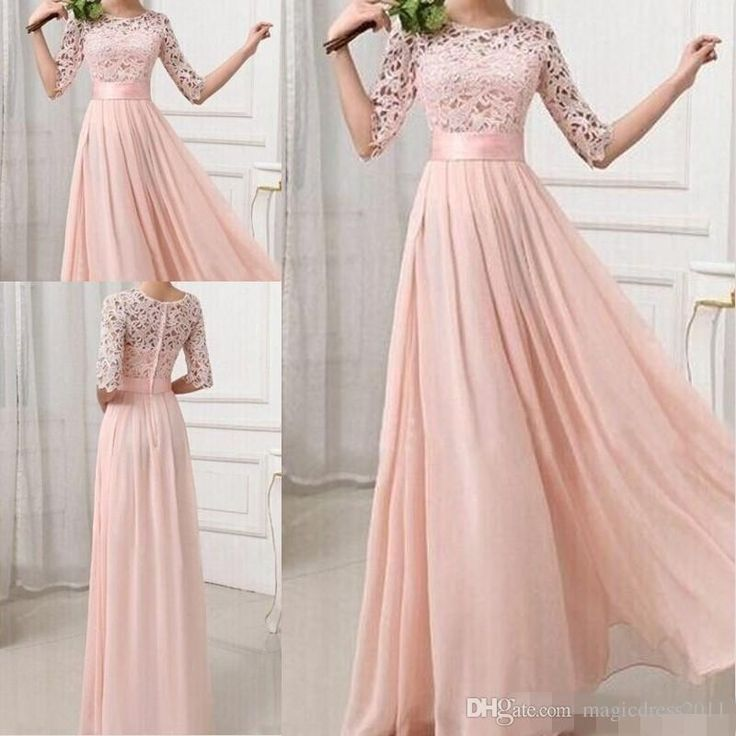Formal Bridesmaid Dresses Sexy Chiffon Long Maids Of Honor Bridesmaids Dress With Lace Pink Champagne Royal Blue Gowns 2016 For Cheap
