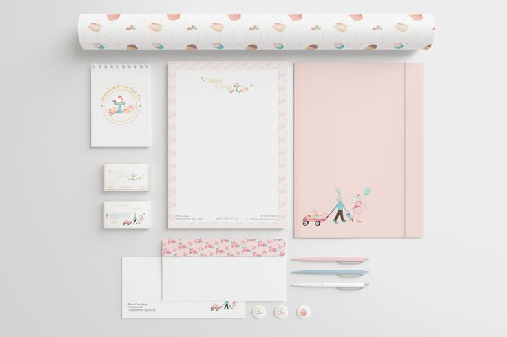 Watercolor Branding Package for Beautiful by Design Co. Bakery, Queensland, Australia
