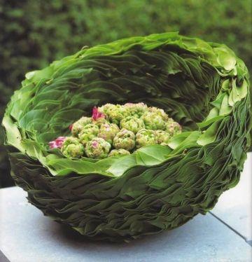 green leaf basket