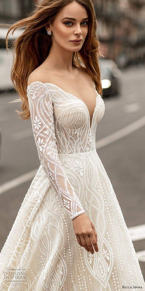 Mar 17, 2020 – Weddinginspirasi.com featuring – ricca sposa 2020 barcelona bridal off shoulder long sleeves sweetheart n…