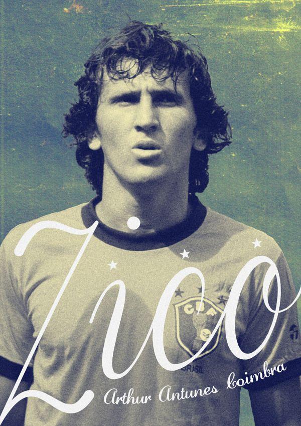 Zico. Football Poster designs by Joe Bargus, via Behance