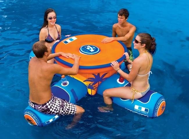 WOW Aqua Table – A 4-Person Floating Picnic Table With Built-In Cooler, $263