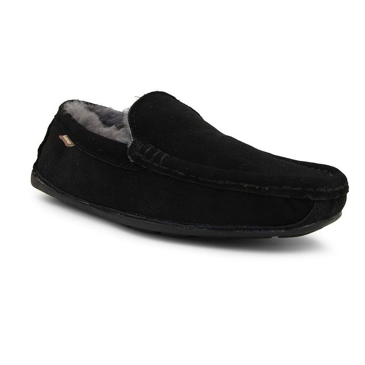 LAMO Boston Men's Moccasin Slippers, Size: medium (13), Black