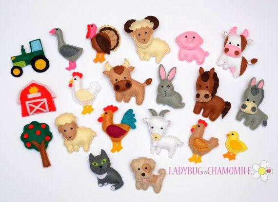 Felt Farm Animals  Fridge magnets  CHOOSE by LadybugOnChamomile, $9.99