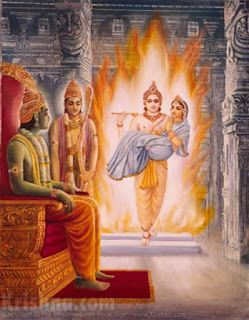"The fire-god, Agni, took away the real Sita and brought her to the place of Parvati, goddess Durga. An illusory form of mother Sita was then delivered to Ravana, and in this way Ravana was cheated. After Ravana was killed by Lord Ramacandra, Sitadevi was brought before the fire. When the illusory Sita was brought before the fire by Lord Ramacandra, the fire-god made the illusory form disappear and delivered the real Sita to Lord Ramacandra."" -"