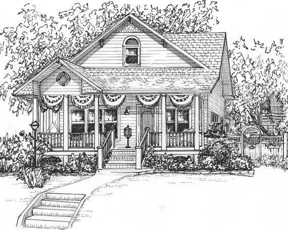 Custom Ink House Drawing 8 X 10 Portrait Of Your Vacation Home Portrait Hand Drawn From Your Photos Architectural Sketch