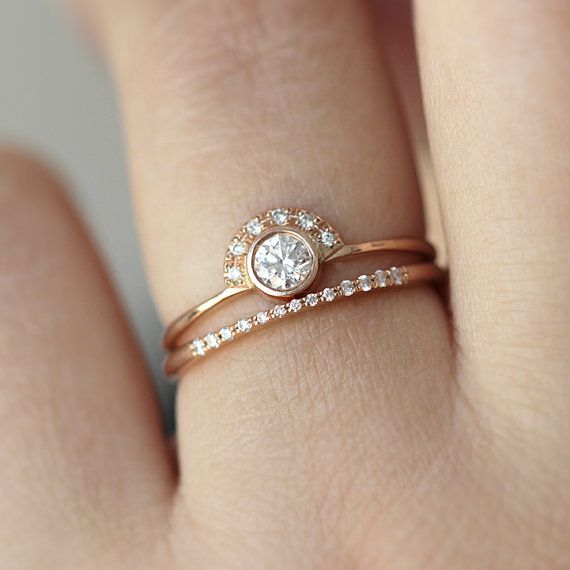 Wedding Set - Round Diamond Crown Ring with Tall Pave Diamond Ring - 18k Solid Gold