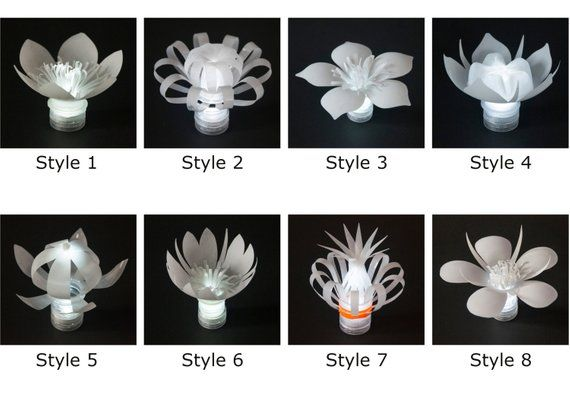 Set of 6 LED Plastic Bottle Flowers (one in each style)