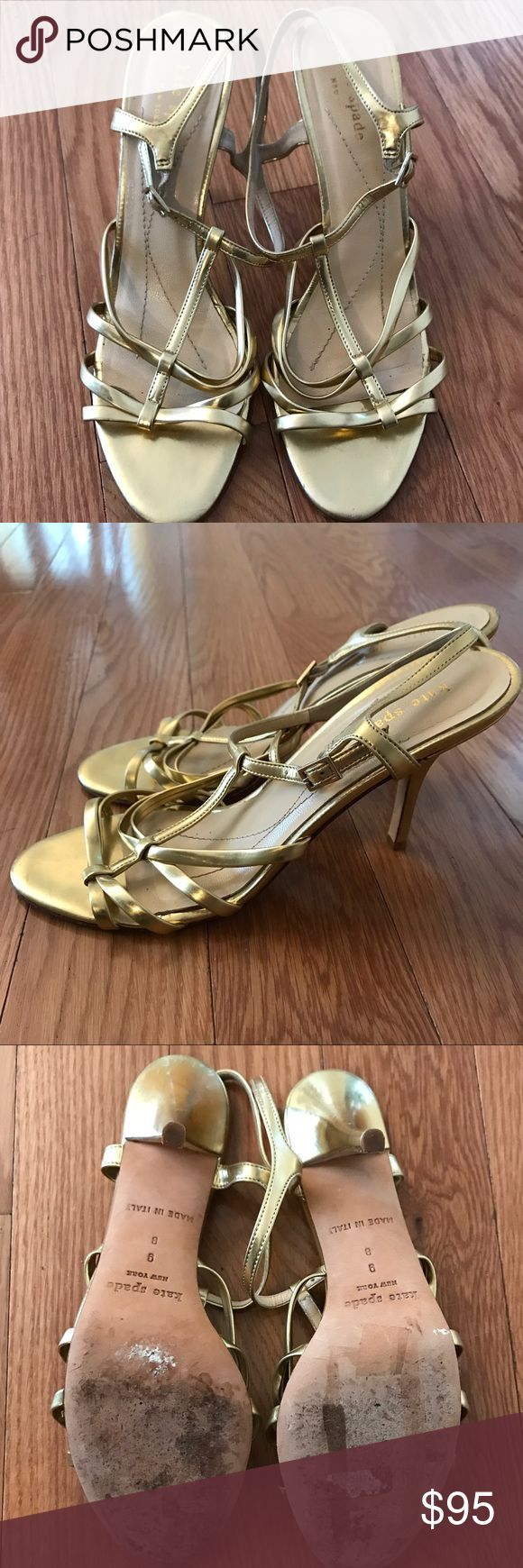 Authentic Kate Spade Gold Strappy Sandals Guaranteed authentic! Gold metallic leather Kate Spade New York multistrap sandals with tonal stitching throughout, covered heels and buckle closures at ankle straps. Minor discoloration at left heel; not visible while wearing. Good used condition. Strong offers considered. kate spade Shoes