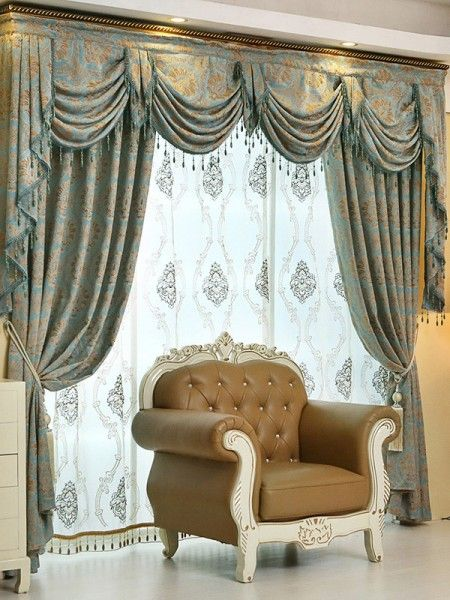 baltic jacquard blue coffee color floral waterfall and swag luxury valance and sheers and chenille velvet living room curtains pair - Valances For Living Room
