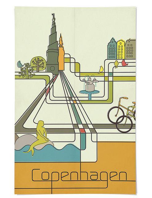 Vintage travel poster for Copenhagen