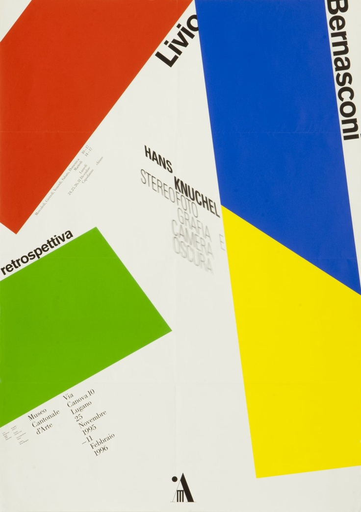 Retrospettiva: Livio Bernasconi, Hans Knuchel. 1995. Designer: Bruno Monguzzi. Carnegie Mellon Swiss Poster Collection