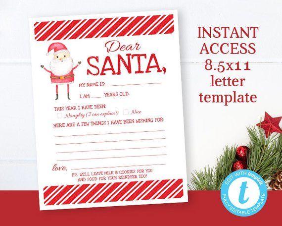 Printable Santa Letter Letter To Santa Christmas Wish List Instant Download Kids Chri Kids Christmas List Christmas Photo Card Template Holiday Photo Cards