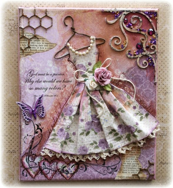 This is a dress canvas that I just love and would like to try with a dress I all ready have. Especially like chip board corner with paint and beads and the heart cutouts doodled and then swirl stamp over the top.