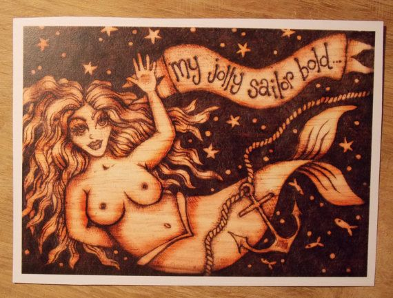 Mermaid postcard print of original wood burnt by salixpyrography
