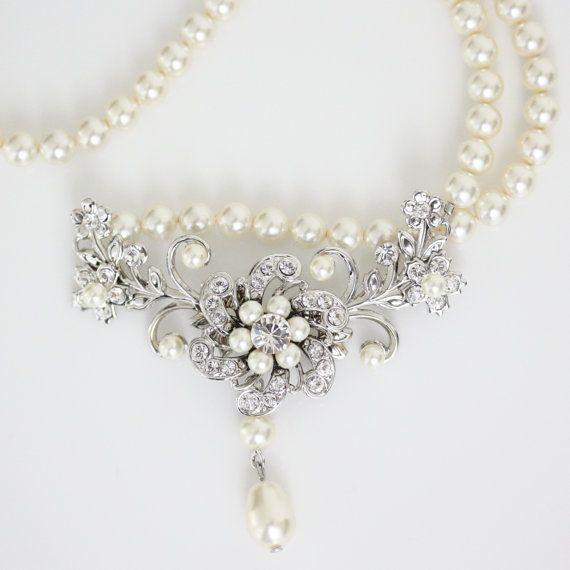 Wedding Jewelry Ivory Pearl necklace Vintage by LuluSplendor, $85.00