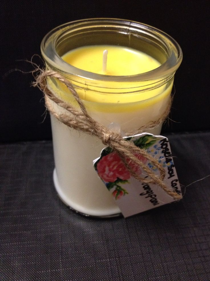 Two colour toned frangipani candle