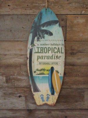 Houten wandbord Surfplank met de tekst Summer Holidays in Tropical Paradise groen blauw oranje 78x30x1 cm