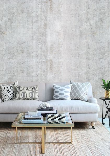 Industrial meets glam lounge with our 'Concrete 2' wallpaper  #wallpaper #concrete #concretewallpaper #removablewallpaper #industrial #interiorinspo