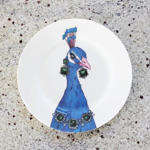 Peacock Side Plate by PerkyDeco on Etsy