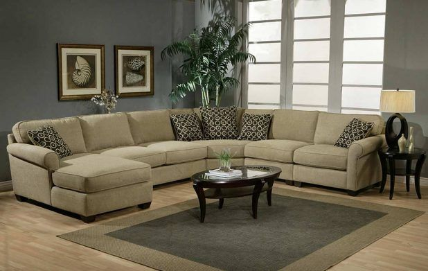 Elegant custom sectional sofa design idea with soft brown tweed wool upholstered c shaped sectional comfortable sofa and black brown classic pattern comfy square comfy cushion sofas and gray dark brown square living room rug area,brown laminate flooring,dark bro.