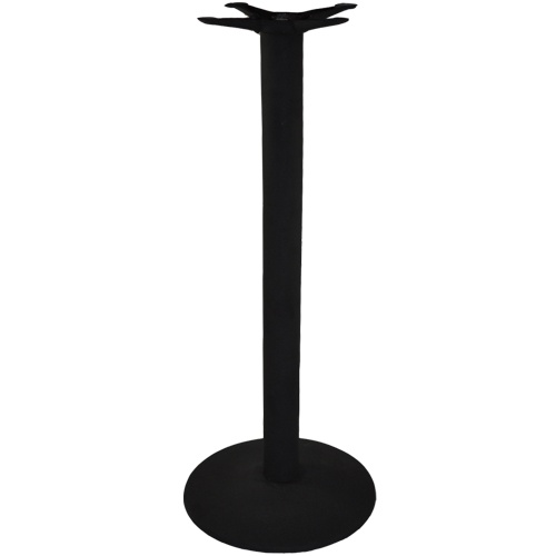 "Advantage Bar / Restaurant Bar Height Table Base - These commercial-grade black, cast iron, 40.5-inch tall bar table bases are built to provide years of service in any restaurant, bar, café, pub or bistro. Offered at a very competitive price, these solid cast black metal commercial bar & pub table bases also feature a textured, powder coated black frame finish which complements any restaurant or bar decor.  Available in 17"" and 22"" round table base sizes and in packs of 1 or 2."