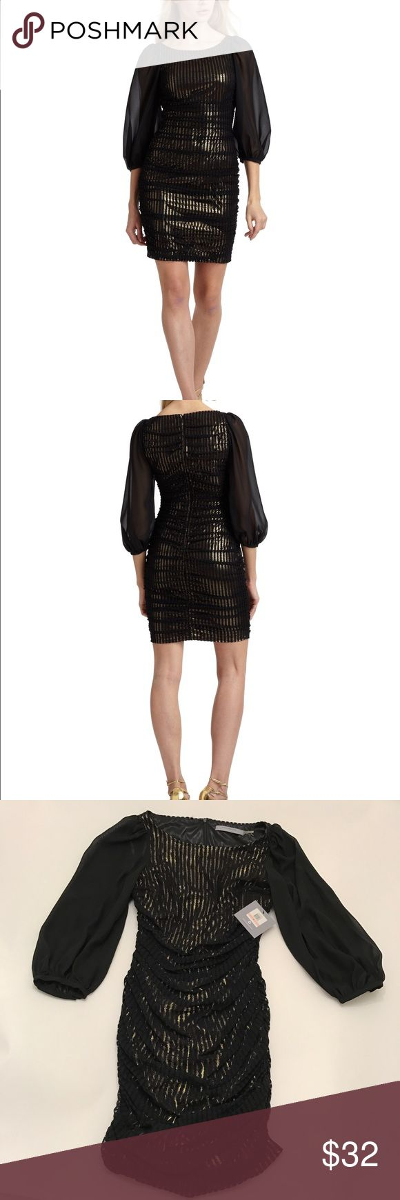NWT Andrew Marc New York Gold and Black Dress / 10 NWT Andrew Marc New York Gold and Black Dress / size 10 Andrew Marc Dresses Mini