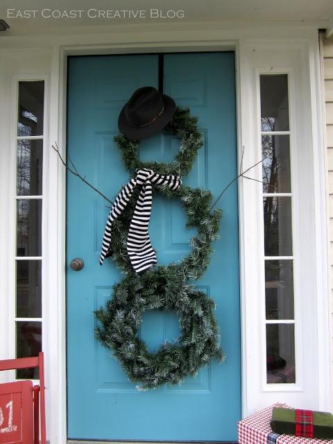 Seasonal Front Door Decor {DIY Snowman Wreath}
