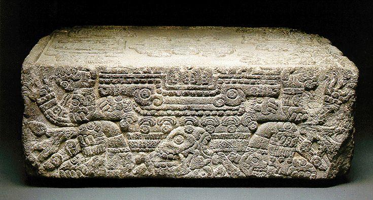 Side view of the Coronation Stone of Moctezuma II