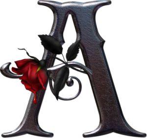 Abecedario gótico adornado con rosas. Letra A (vocal) mayúscula.                                                                                                                                                                                 Más