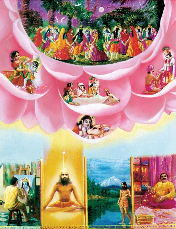 Bhagavad Gita: As they surrender to Me, I reward them accordingly.  At the top Krsna is dancing with His purest devotees as a lover. On the lotus petals the Lord is reciprocating with His devotees as a son, as a friend and as a master. Below left, a devotee in the material world is associating with Krsna personally by painting His transcendental form. Next, an impersonalist, by his meditation, is merging with the brahmajyoti, the spiritual effulgence emanating from the Lords body. On the…
