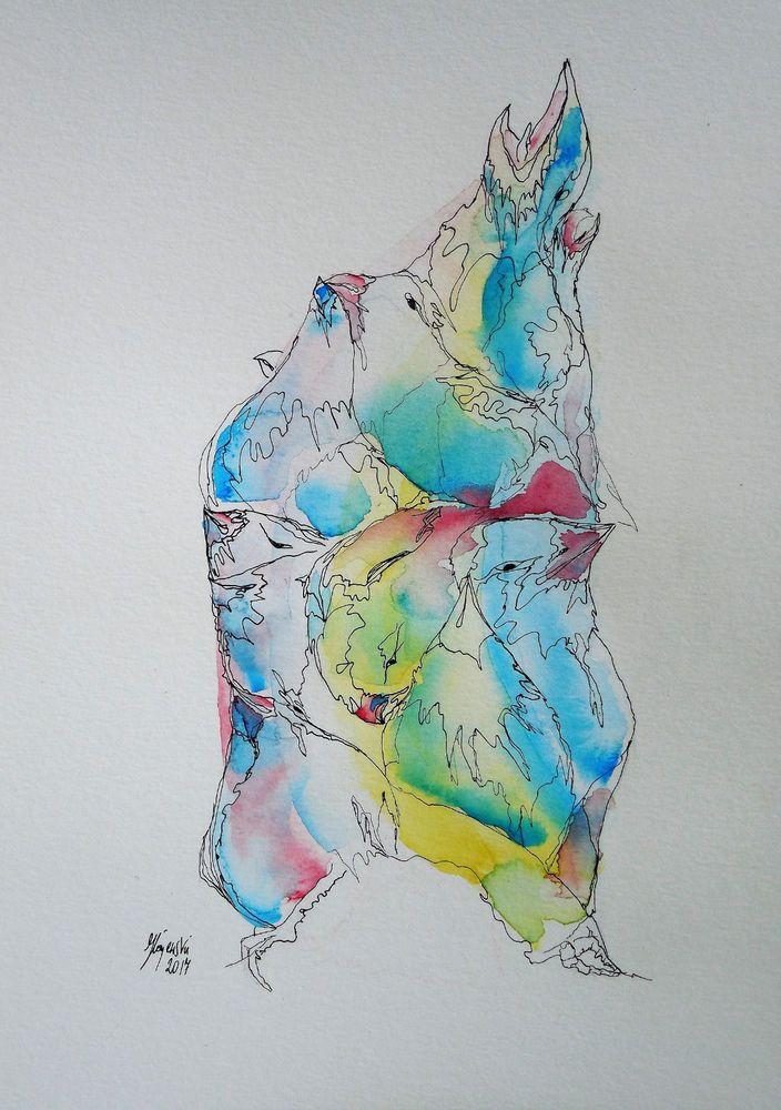 Aquarell Feder- Tusche- Zeichnung Vogel Turm Künstler direkt blau rosa gelb weiß