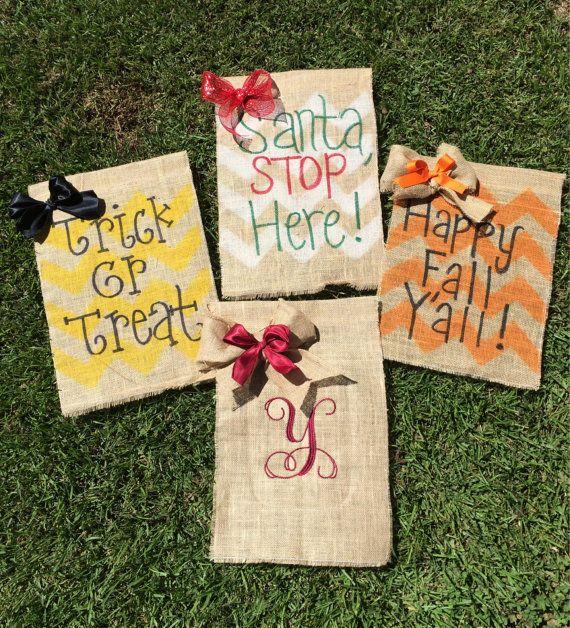 Burlap Garden flag seasonal bundle- this listing is for 4 garden flags -Happy fall yall -Santa stop here -Trick or treat -Monogram initial (