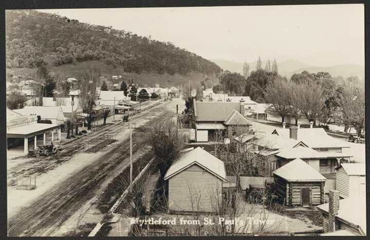 Myrtleford,Victoria from St Paul's Tower in the 1940s. State Library of Victoria.