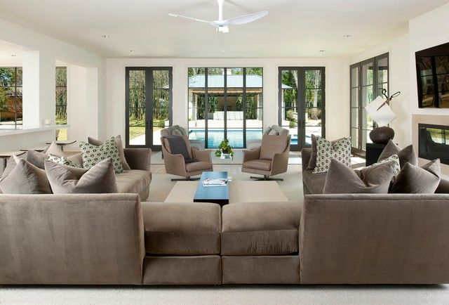 Modern u shaped sectional sofa for spacious living room glorious gray brown u shaped sectional - Two sofa living room design ...