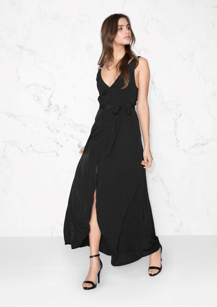 & Other Stories image 2 of Maxi Wrap Dress  in Black