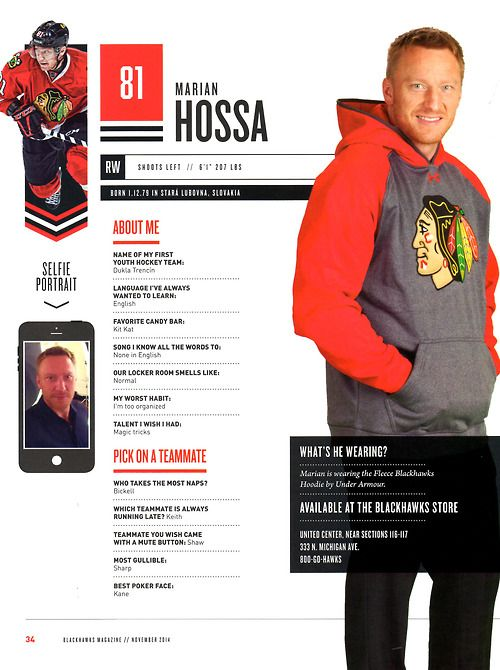 81 // MARIAN HOSSA - Blackhawks Magazine surveys 2014-15