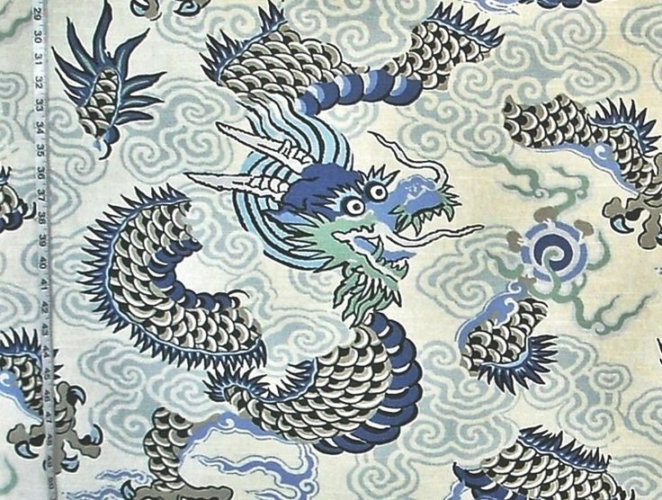Oriental dragon fabric Asian Chinese Japanese from Brick House Fabric: Novelty Fabric