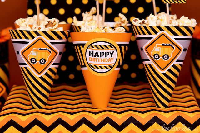 Popcorn cones from a Construction Birthday Party! See more party ideas at CatchMyParty.com!