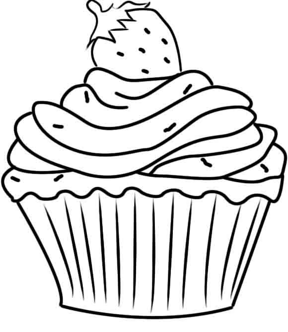 "blue and sprinkle coloring pages | iColor ""Cupcakes"" ~ Cupcake with Sprinkles & Strawberry on ..."