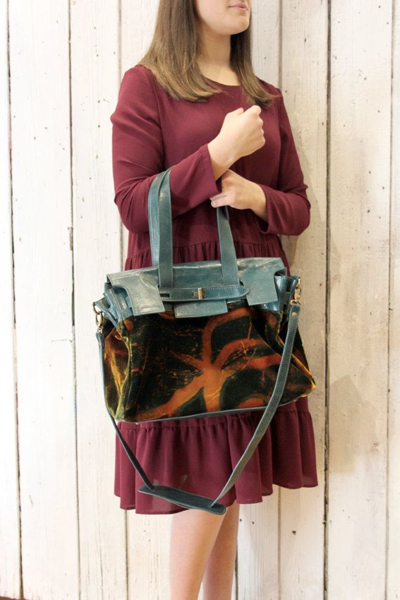 VELLUTO BAG 3 Handpainted velvet & Leather Messanger bag di LaSellerieLimited su Etsy