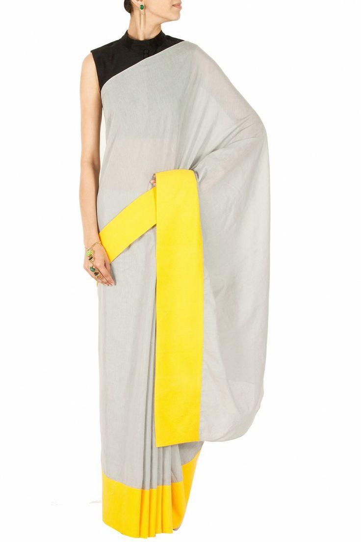 Grey and yellow sari with black blouse BY PAYAL SINGHAL.Shop now at perniaspopupshop.com #perniaspopupshop #clothes #womensfashion #love #indiandesigner #payalsinghal #happyshopping #sexy #chic #fabulous #PerniasPopUpShop