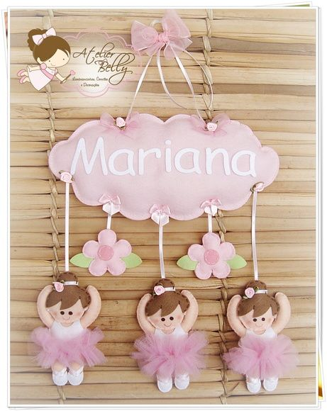 "little girl name ""cloud"" w/little flowers and little girl ballerinas dangling from the cloud in felt"