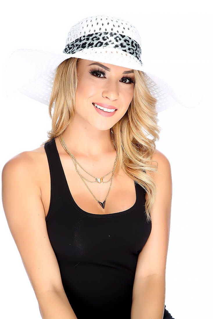 White Diamond Cut Out Detailing Animal Print Sash Floppy Straw Hat #SexyClothes #SexyClothing #Adult